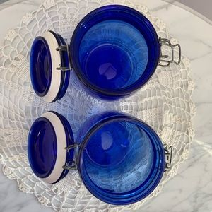 Vintage Kitchen - Pair of Vintage Cobalt Blue Glass Storage Jars